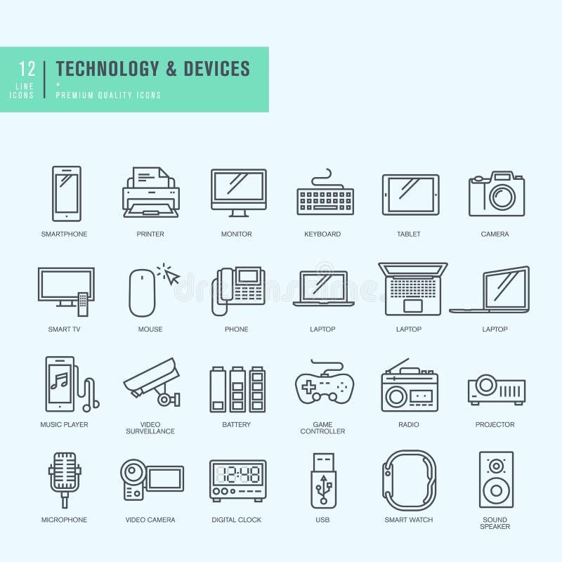 Λεπτά εικονίδια γραμμών καθορισμένα Εικονίδια για την τεχνολογία, ηλεκτρονικές συσκευές ελεύθερη απεικόνιση δικαιώματος