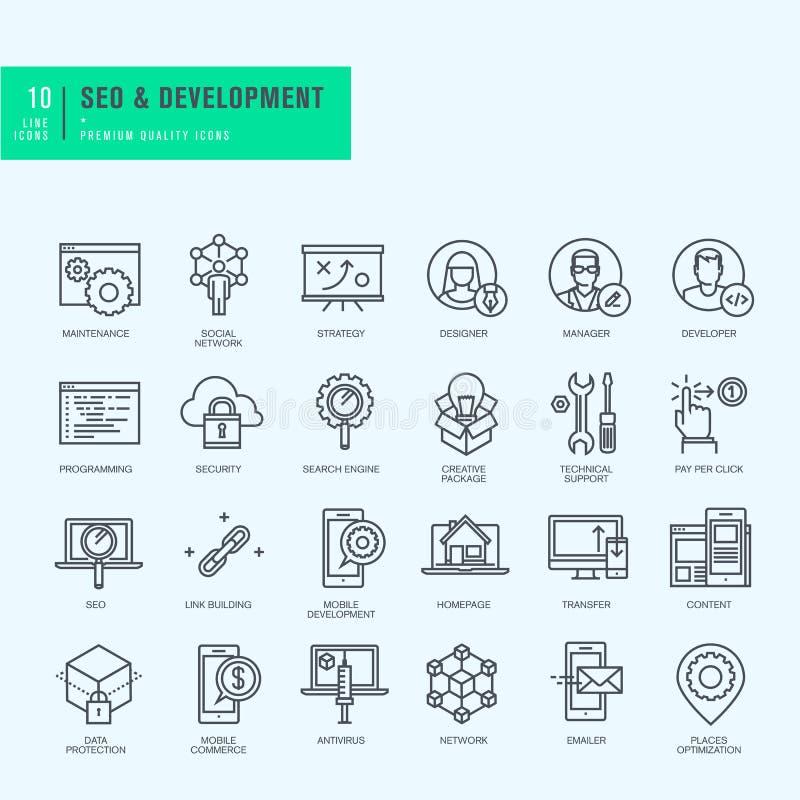 Λεπτά εικονίδια γραμμών καθορισμένα Εικονίδια για το seo, τον ιστοχώρο και app το σχέδιο και την ανάπτυξη διανυσματική απεικόνιση