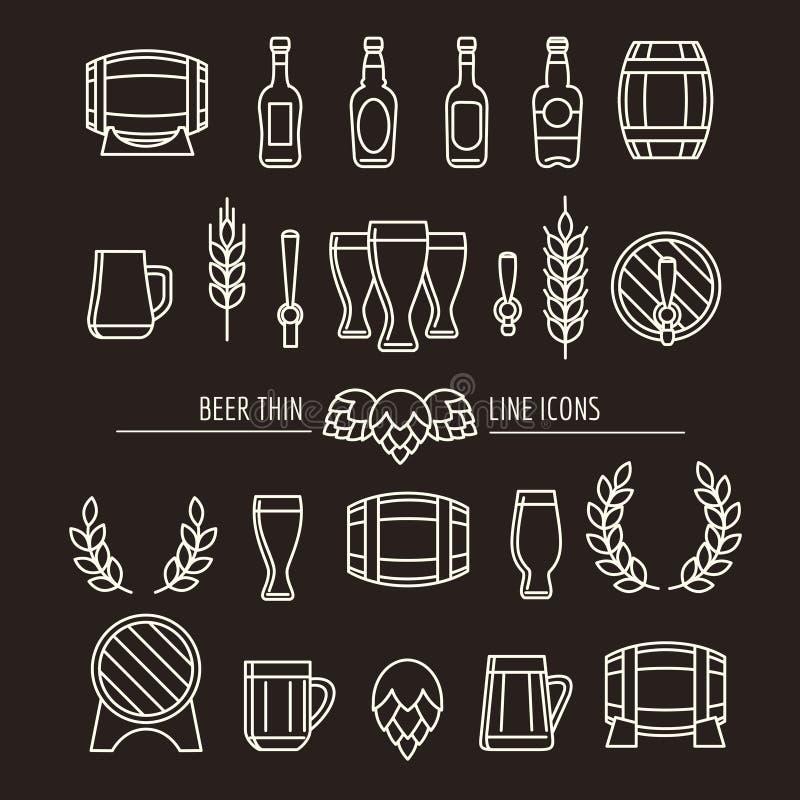 Λεπτά εικονίδια γραμμών μπύρας διανυσματική απεικόνιση