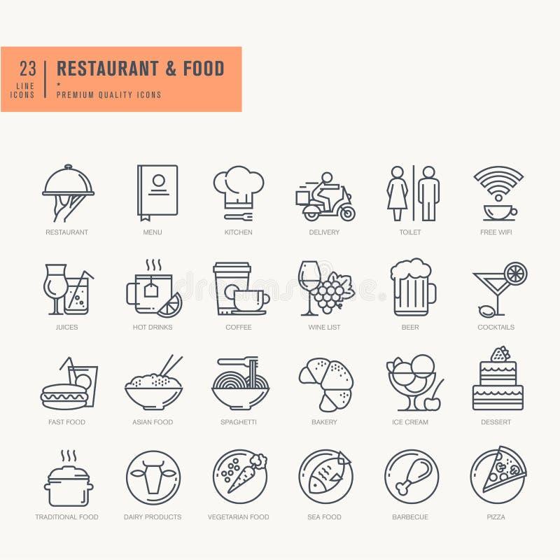 Λεπτά εικονίδια γραμμών που τίθενται για τα τρόφιμα και το ποτό διανυσματική απεικόνιση