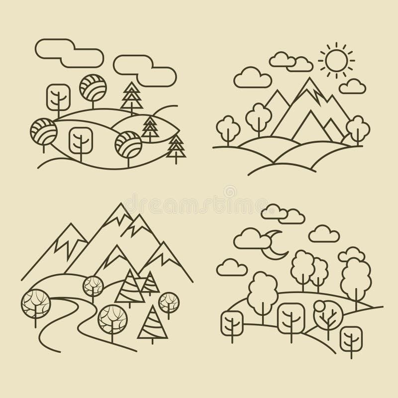 Λεπτά εικονίδια γραμμών τοπίων φύσης Διανυσματική απεικόνιση τοπίων δασών και κοιλάδων ελεύθερη απεικόνιση δικαιώματος