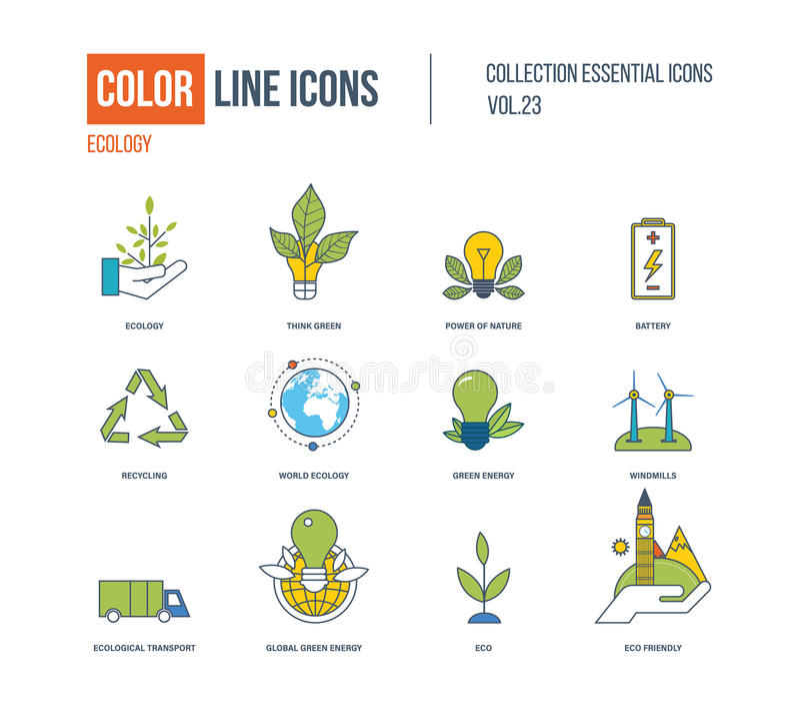 Λεπτά εικονίδια γραμμών χρώματος καθορισμένα Οικολογία, πράσινη ενέργεια διανυσματική απεικόνιση