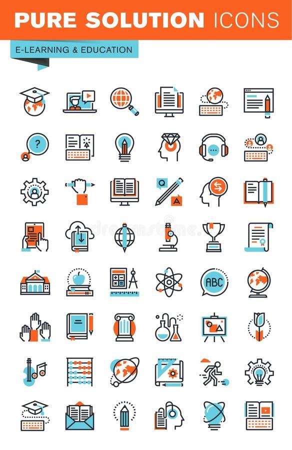 Λεπτά εικονίδια Ιστού γραμμών για την εκπαίδευση απεικόνιση αποθεμάτων