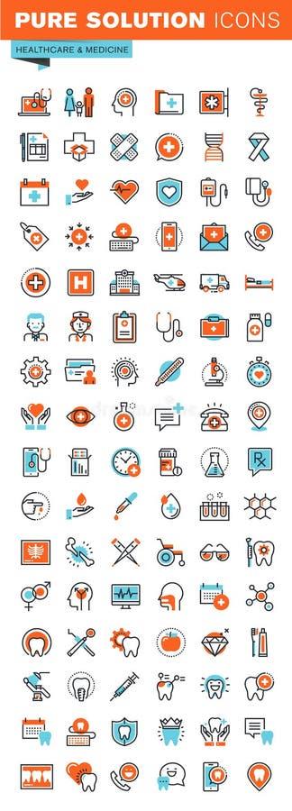 Λεπτά εικονίδια Ιστού γραμμών για τις ιατρικές υπηρεσίες και την υποστήριξη απεικόνιση αποθεμάτων