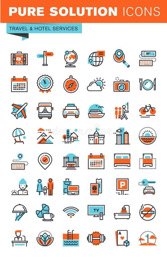 Λεπτά εικονίδια Ιστού γραμμών για το ταξίδι και τον τουρισμό απεικόνιση αποθεμάτων