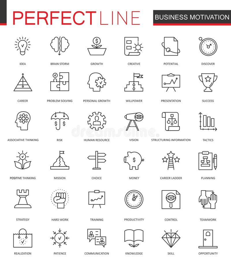 Λεπτά εικονίδια Ιστού γραμμών επιχειρησιακού κινήτρου καθορισμένα Σχέδιο εικονιδίων κτυπήματος περιλήψεων οργάνωσης πειθαρχίας απεικόνιση αποθεμάτων