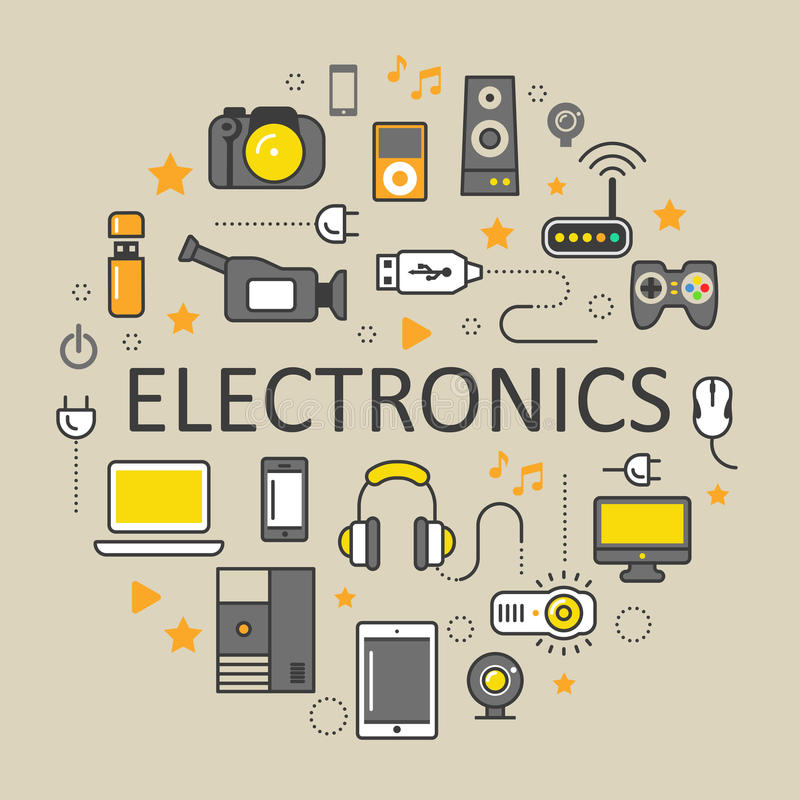Λεπτά εικονίδια τέχνης γραμμών τεχνολογίας ηλεκτρονικής που τίθενται με τον υπολογιστή και τις συσκευές διανυσματική απεικόνιση