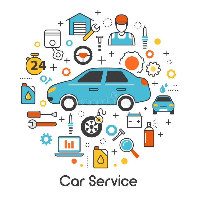 Λεπτά εικονίδια τέχνης γραμμών υπηρεσιών συντήρησης αυτοκινήτων αυτόματα που τίθενται με το όχημα και τα μηχανικά εργαλεία διανυσματική απεικόνιση