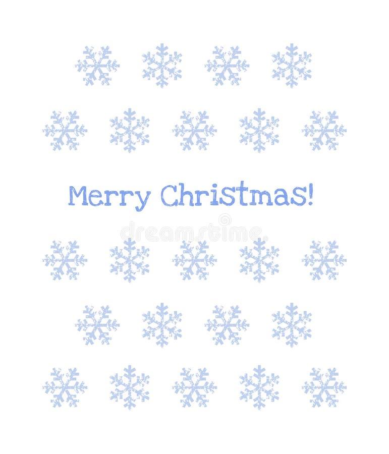 Λεπτά μπλε snowflakes grunge στην άσπρη ευχετήρια κάρτα Χαρούμενα Χριστούγεννας, διάνυσμα διανυσματική απεικόνιση