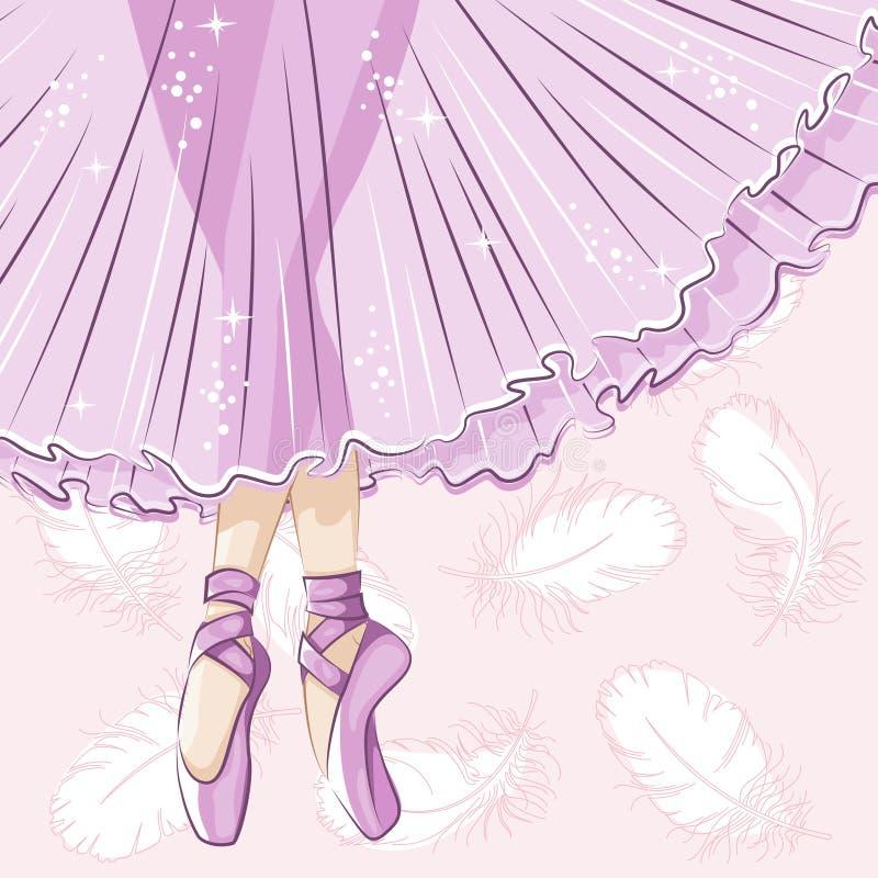 Λεπτά πόδια στις παντόφλες μπαλέτου απεικόνιση αποθεμάτων