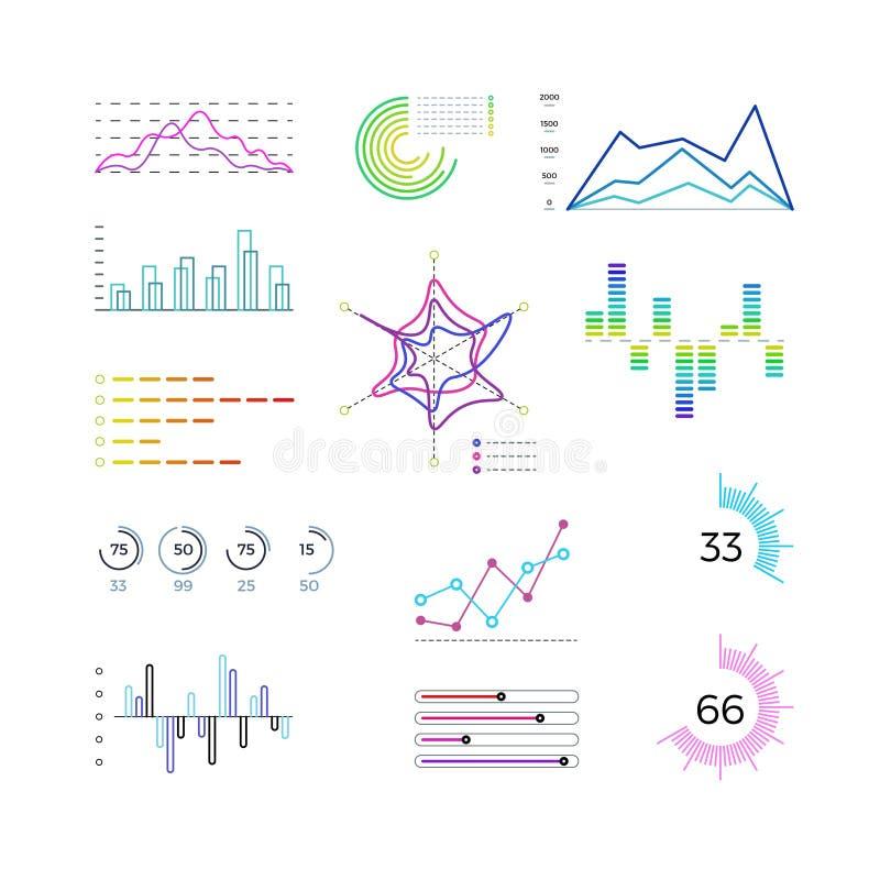 Λεπτά στοιχεία διαγραμμάτων γραμμών για infographic Διαγράμματα περιλήψεων και γραμμικά διανυσματικά πρότυπα γραφικών παραστάσεων απεικόνιση αποθεμάτων