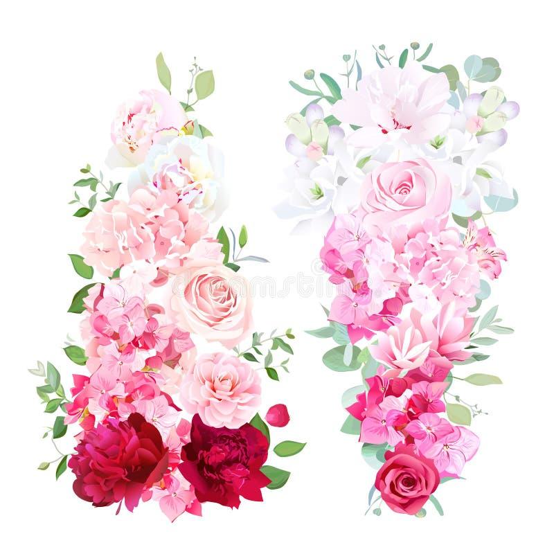 Λεπτές γαμήλιες ombre ανθοδέσμες της ροδαλής, peony, καμέλιας, hydran διανυσματική απεικόνιση