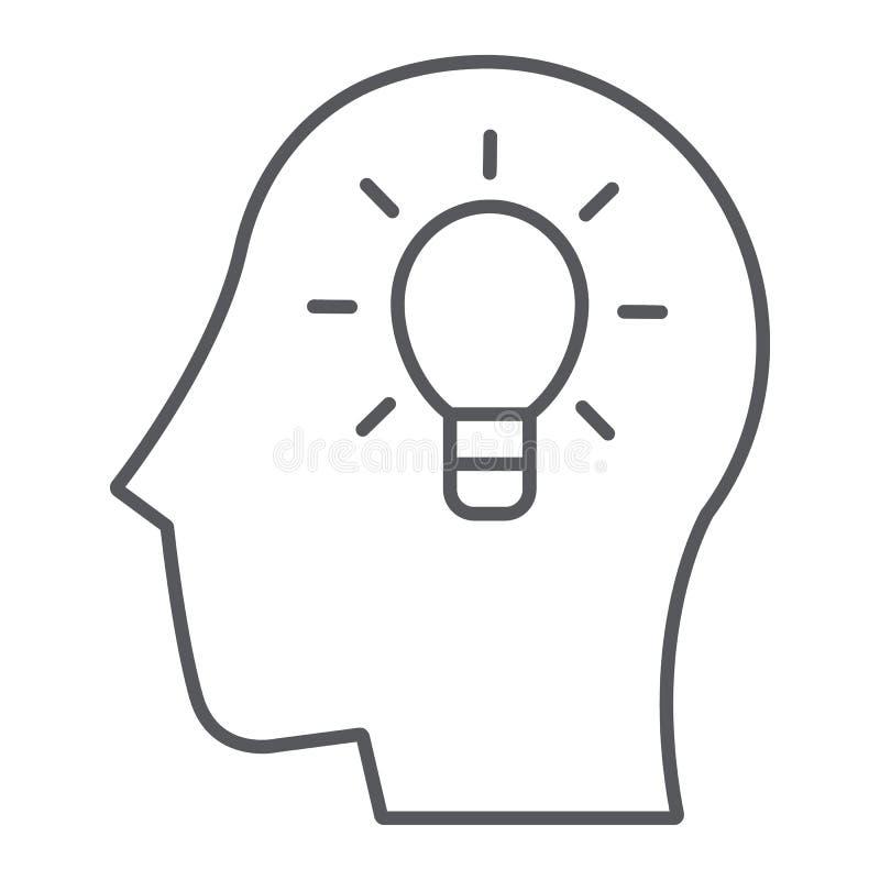 Λεπτές εικονίδιο γραμμών ιδέας, δημιουργικός και καινοτομία, κεφάλι με το σημάδι λαμπτήρων, διανυσματική γραφική παράσταση, ένα γ διανυσματική απεικόνιση