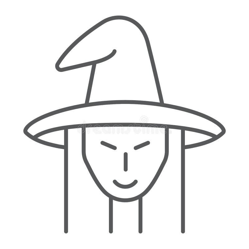 Λεπτές εικονίδιο γραμμών μαγισσών, witchcraft και αποκριές, σημάδι προσώπου μαγισσών, διανυσματική γραφική παράσταση, ένα γραμμικ ελεύθερη απεικόνιση δικαιώματος