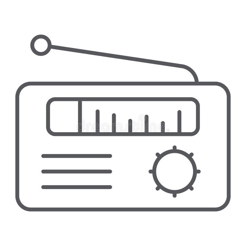 Λεπτές εικονίδιο γραμμών ραδιο δεκτών, μέσα και ραδιοφωνική μετάδοση, σημάδι ομιλητών, διανυσματική γραφική παράσταση, ένα γραμμι διανυσματική απεικόνιση