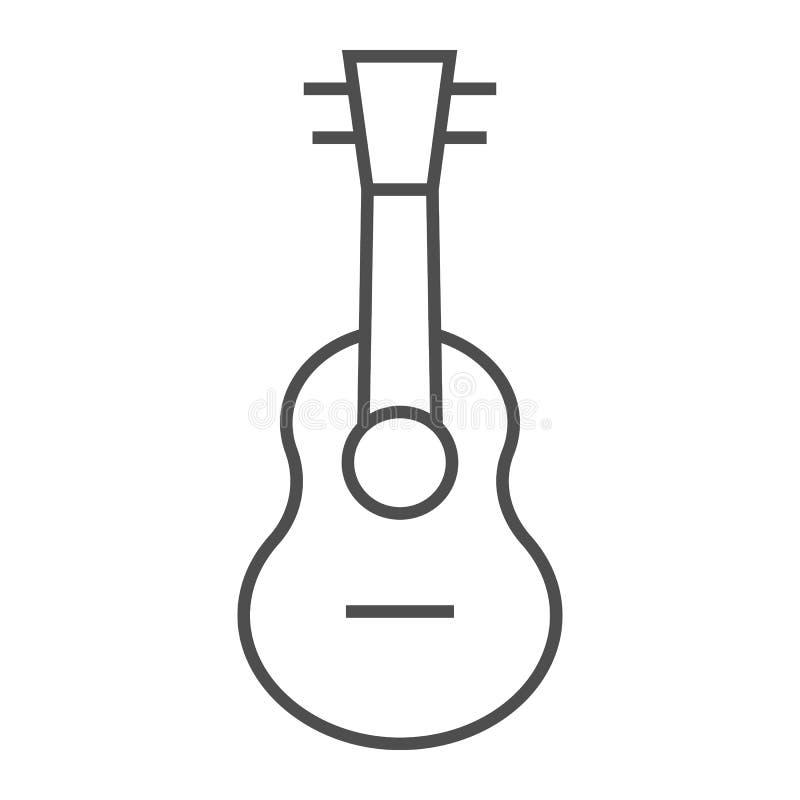 Λεπτές εικονίδιο γραμμών Ukulele, μουσική και σειρά, σημάδι κιθάρων, διανυσματική γραφική παράσταση, ένα γραμμικό σχέδιο σε ένα ά ελεύθερη απεικόνιση δικαιώματος