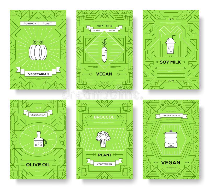 Λεπτές κάρτες φυλλάδιων γραμμών Vegan καθορισμένες Φυτικό πρότυπο flyear, περιοδικά, αφίσες, κάλυψη βιβλίων, εμβλήματα χορτοφάγος διανυσματική απεικόνιση