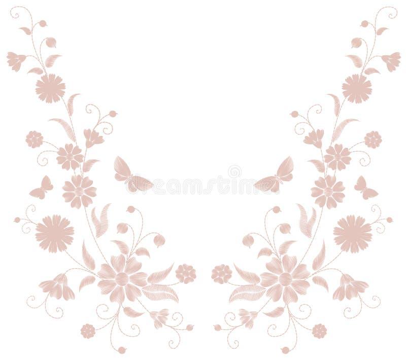 Λεπτή ανοικτό ροζ μπεζ κεντητική λουλουδιών Υφαντική τυπωμένη ύλη μόδας πεταλούδων χορταριών τομέων Διακοσμητικό περίκομψο ουδέτε διανυσματική απεικόνιση