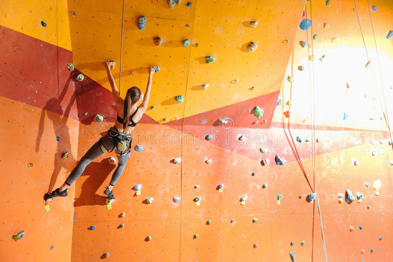 Λεπτή γυναίκα που αναρριχείται επάνω στον ειδικό τοίχο στη γυμναστική στοκ εικόνες