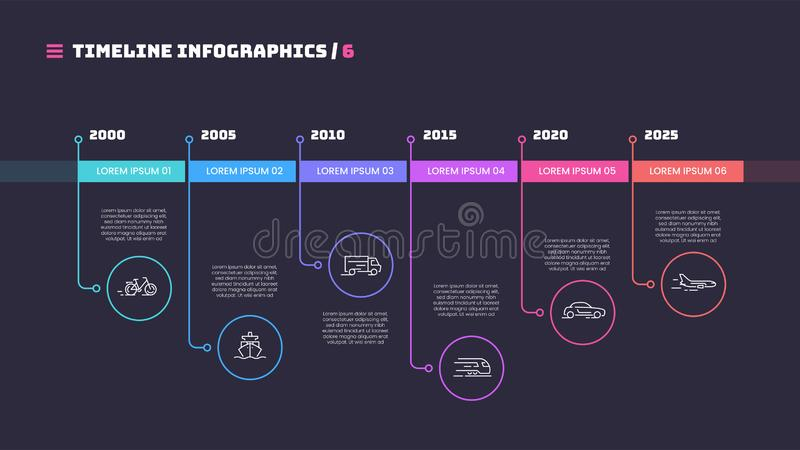 Λεπτή ελάχιστη infographic έννοια υπόδειξης ως προς το χρόνο γραμμών με έξι περιόδους απεικόνιση αποθεμάτων