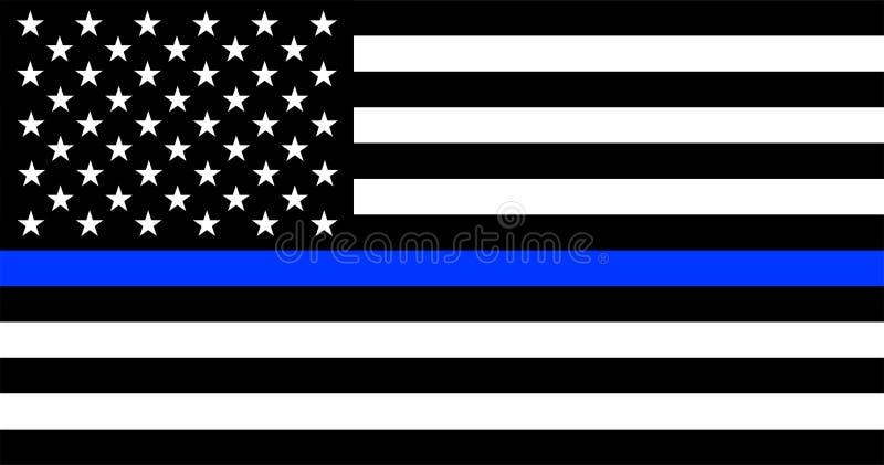 Λεπτή μπλε σημαία αστυνομίας γραμμών αμερικανική απεικόνιση αποθεμάτων
