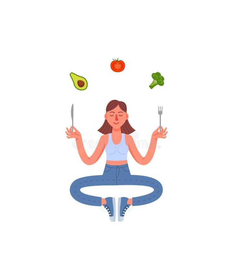 Λεπτή συνεδρίαση γυναικών στην περισυλλογή με ένα δίκρανο και ένα μαχαίρι στα χέρια και τα υγιή τρόφιμά της Αβοκάντο, μπρόκολο, ν απεικόνιση αποθεμάτων
