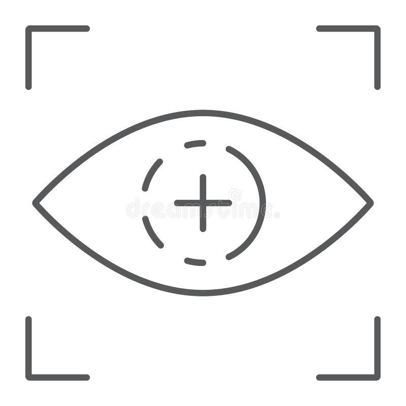 Λεπτοί εικονίδιο γραμμών ανίχνευσης ματιών, πρόσβαση και προσδιορισμ ελεύθερη απεικόνιση δικαιώματος