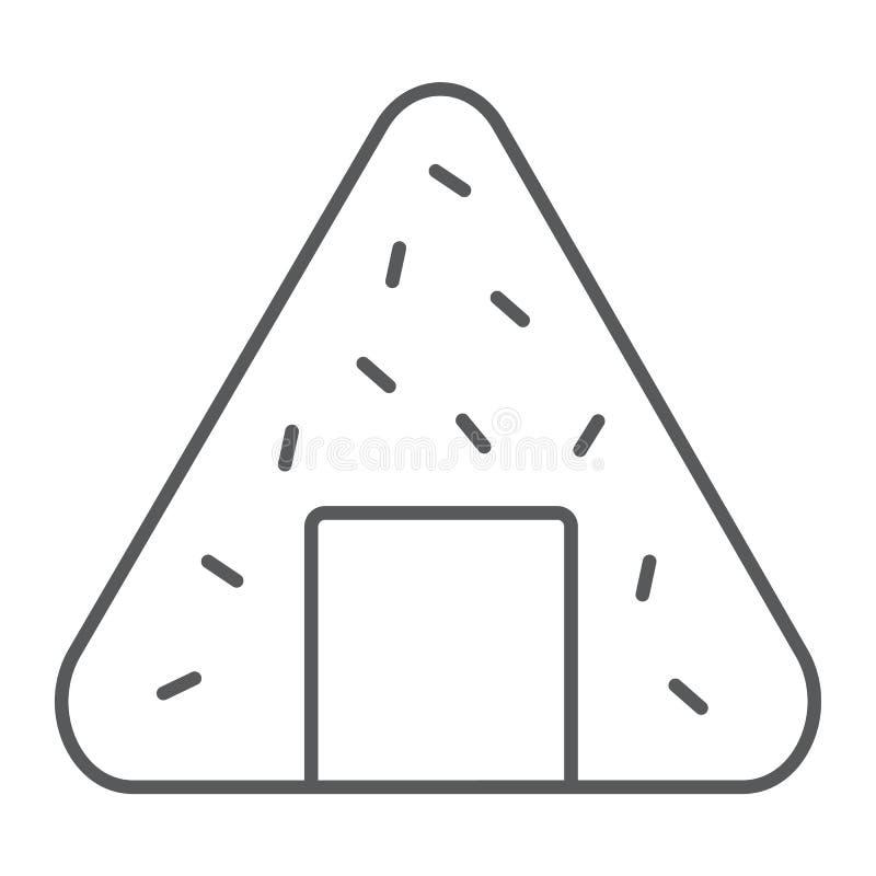 Λεπτοί εικονίδιο γραμμών Onigiri, Ασιάτης και τρόφιμα, ιαπωνικό σημάδι γεύματος, διανυσματική γραφική παράσταση, ένα γραμμικό σχέ διανυσματική απεικόνιση