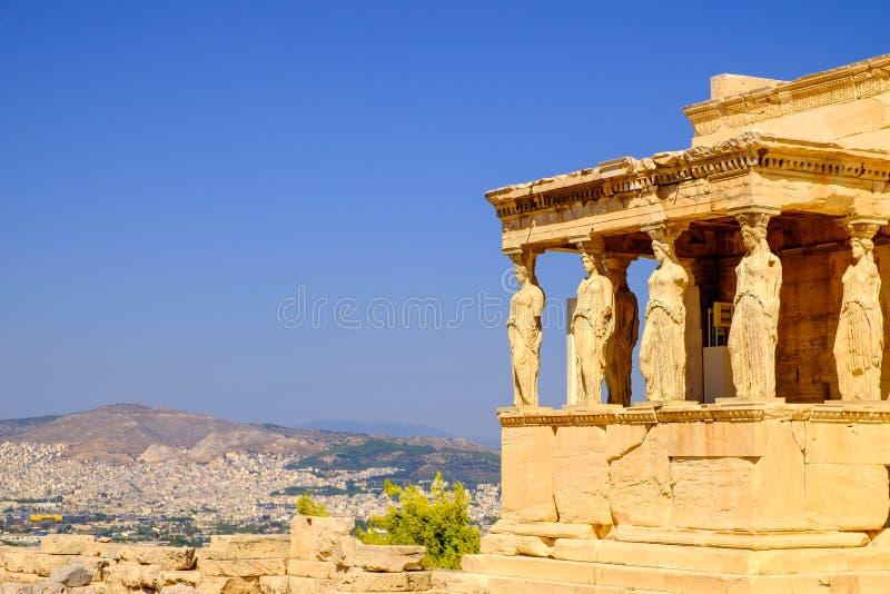Λεπτομέρεια αρχιτεκτονικής του αρχαίου ναού Erechteion στην ακρόπολη στοκ φωτογραφίες