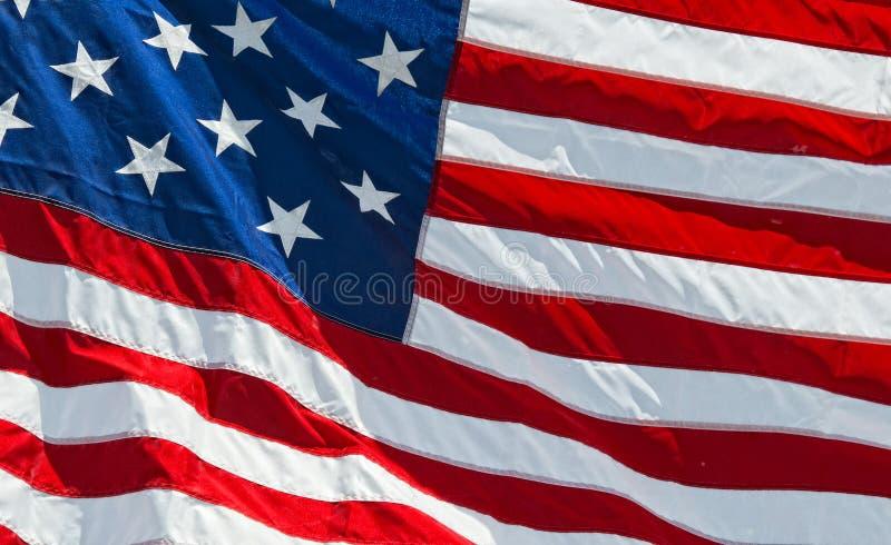 Λεπτομέρεια αστεριών και λωρίδων αμερικανικών αμερικανικών σημαιών στοκ φωτογραφία