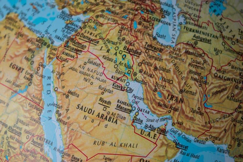 Λεπτομέρεια ενός εκλεκτής ποιότητας χάρτη που παρουσιάζει τη Μέση Ανατολή, συμπεριλαμβανομένου του Ιράν στοκ εικόνες