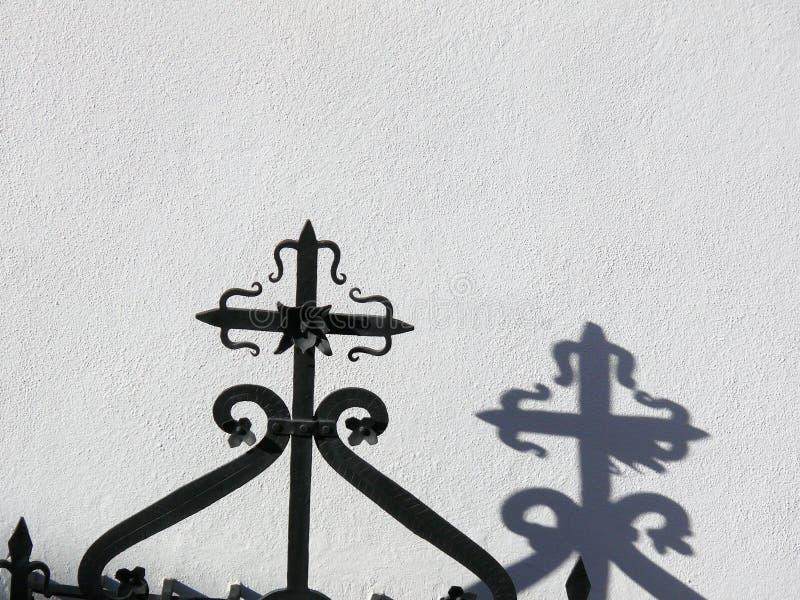 Λεπτομέρεια ενός κιγκλιδώματος επεξεργασμένου σιδήρου στοκ εικόνα με δικαίωμα ελεύθερης χρήσης
