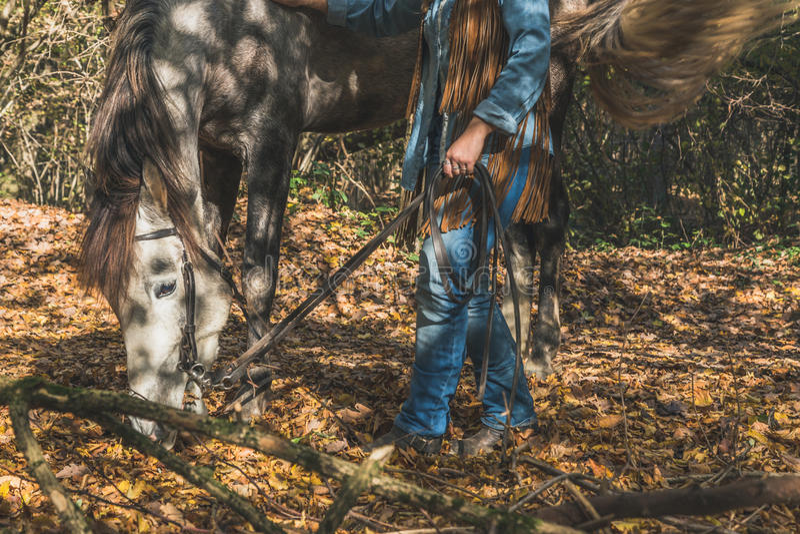 Λεπτομέρεια ενός κοριτσιού που υπερασπίζεται το γκρίζο άλογό της στοκ φωτογραφία με δικαίωμα ελεύθερης χρήσης