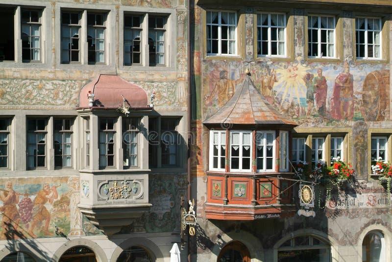 Λεπτομέρεια ενός μεσαιωνικού σπιτιού Stein AM Ρήνος στοκ εικόνες