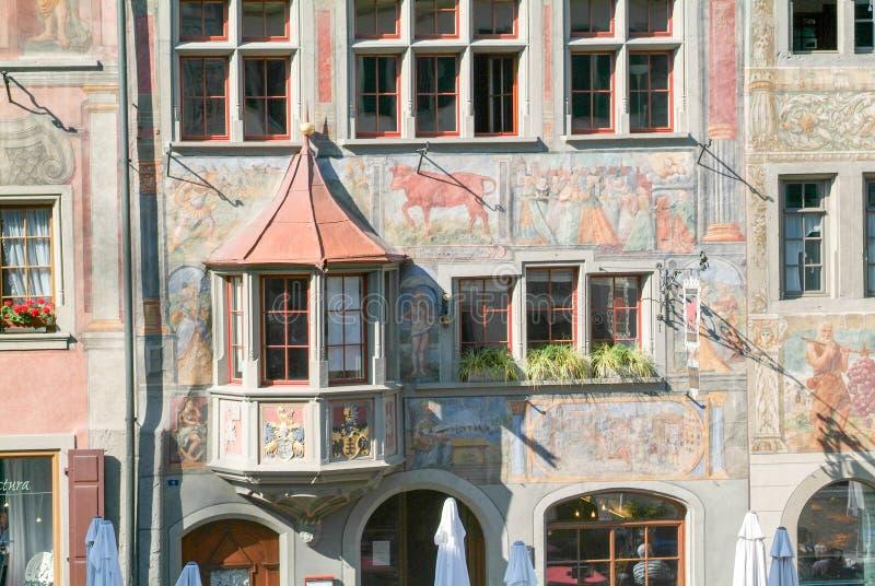 Λεπτομέρεια ενός μεσαιωνικού σπιτιού Stein AM Ρήνος στοκ εικόνες με δικαίωμα ελεύθερης χρήσης