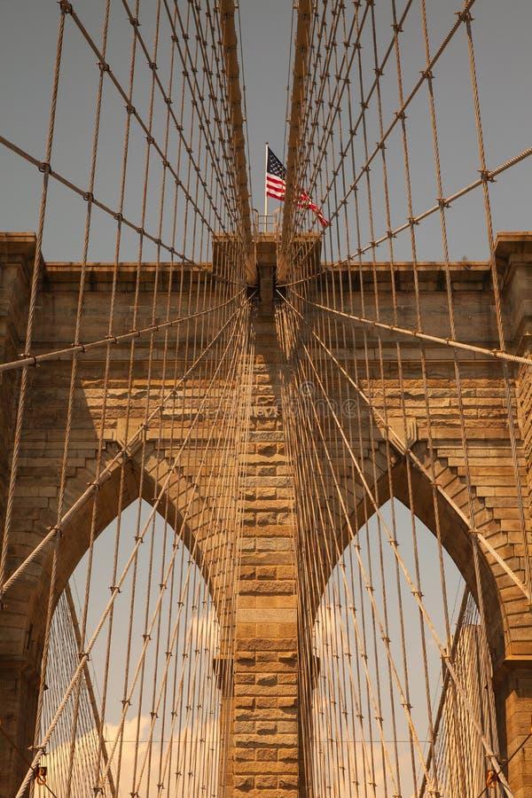 Λεπτομέρεια της ιστορικής γέφυρας του Μπρούκλιν στη Νέα Υόρκη στοκ εικόνες με δικαίωμα ελεύθερης χρήσης