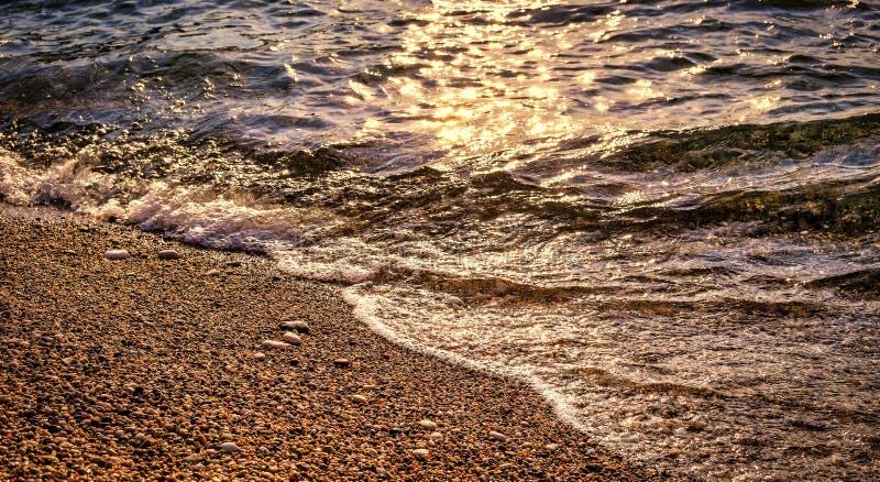Λεπτομέρεια της παραλίας χαλικιών στο ηλιοβασίλεμα στοκ εικόνες