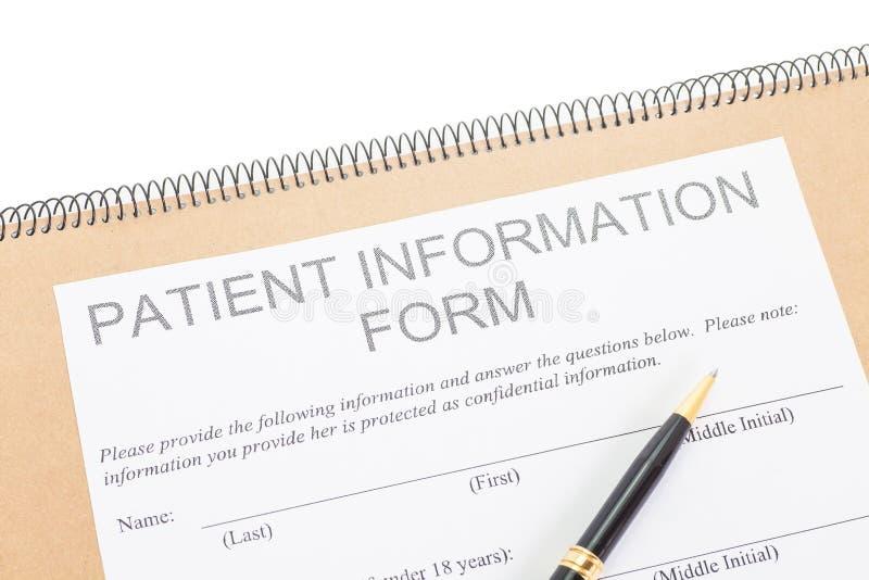Λεπτομέρεια της υπομονετικής μορφής πληροφοριών στοκ εικόνες