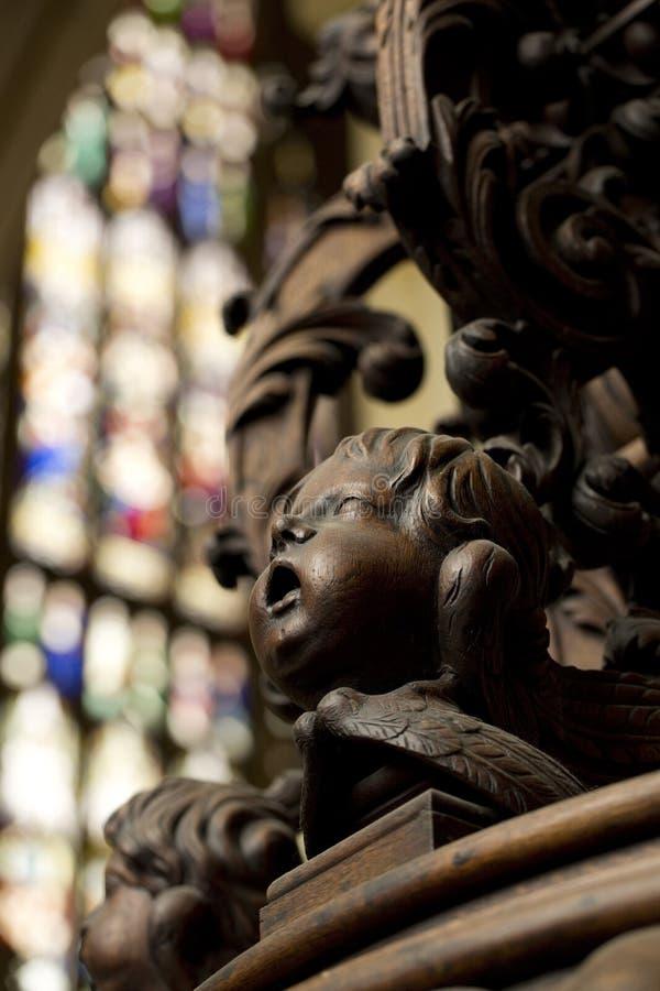 Λεπτομέρεια της χαρασμένης κάλυψης πηγών βαπτίσματος στο νότιο διάδρομο της εκκλησίας κοινοτήτων μοναστηριακών ναών της Beverley, στοκ φωτογραφία