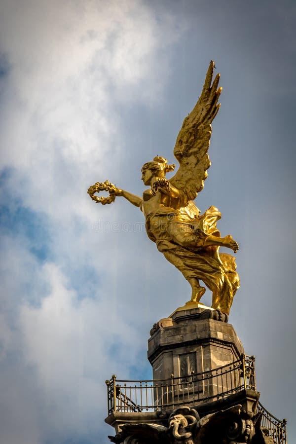 Λεπτομέρεια του αγγέλου του μνημείου ανεξαρτησίας - Πόλη του Μεξικού, Μεξικό στοκ εικόνα