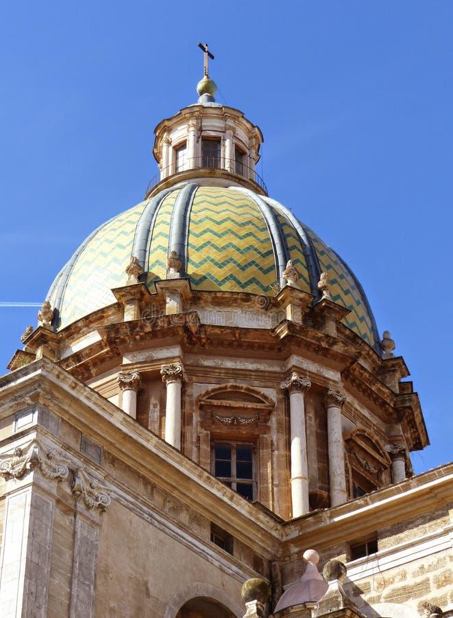 Λεπτομέρεια του θόλου της εκκλησίας του S Dei Teatini, Παλέρμο, Σικελία, Ιταλία του Giuseppe στοκ φωτογραφία με δικαίωμα ελεύθερης χρήσης