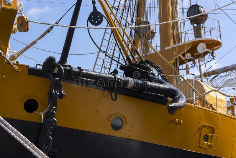Λεπτομέρεια του ιταλικού πλέοντας σκάφους Amerigo Vespucci στοκ εικόνες