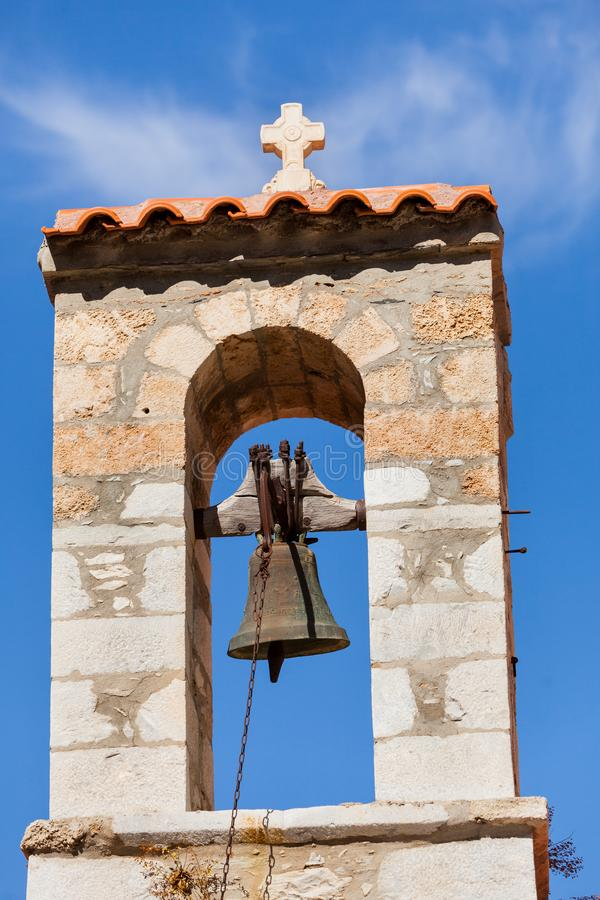 Λεπτομέρεια του καμπαναριού αρχιτεκτονικής στην πόλη Vathia, Mani Ελλάδα στοκ εικόνα με δικαίωμα ελεύθερης χρήσης