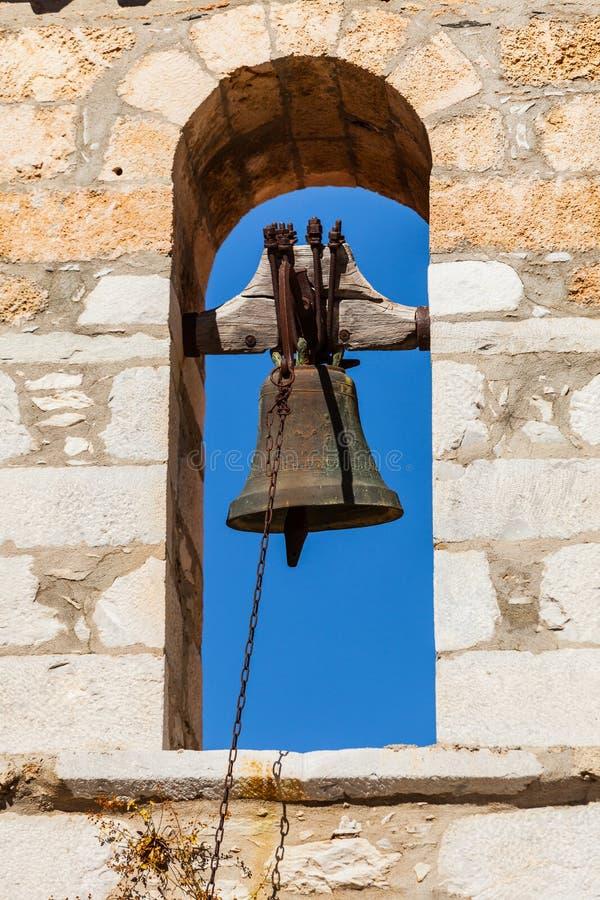 Λεπτομέρεια του καμπαναριού αρχιτεκτονικής στην πόλη Vathia, Mani Ελλάδα στοκ φωτογραφίες