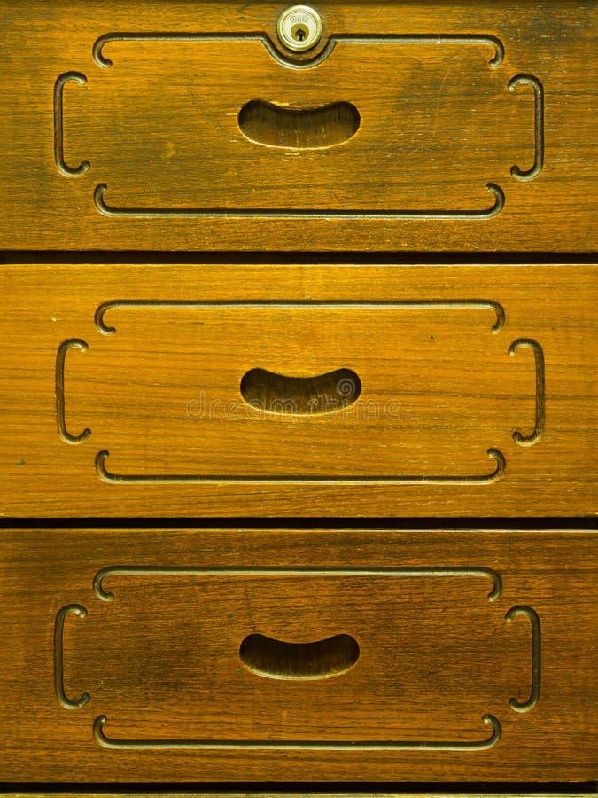 Λεπτομέρεια του παλαιού ξύλινου συρταριού στοκ εικόνες