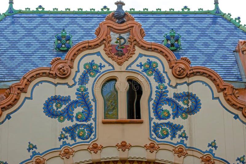 Λεπτομέρεια του σπιτιού του αρχιτέκτονα Ferenc Raichle στην ουγγρική τέχνη Nou στοκ φωτογραφίες με δικαίωμα ελεύθερης χρήσης