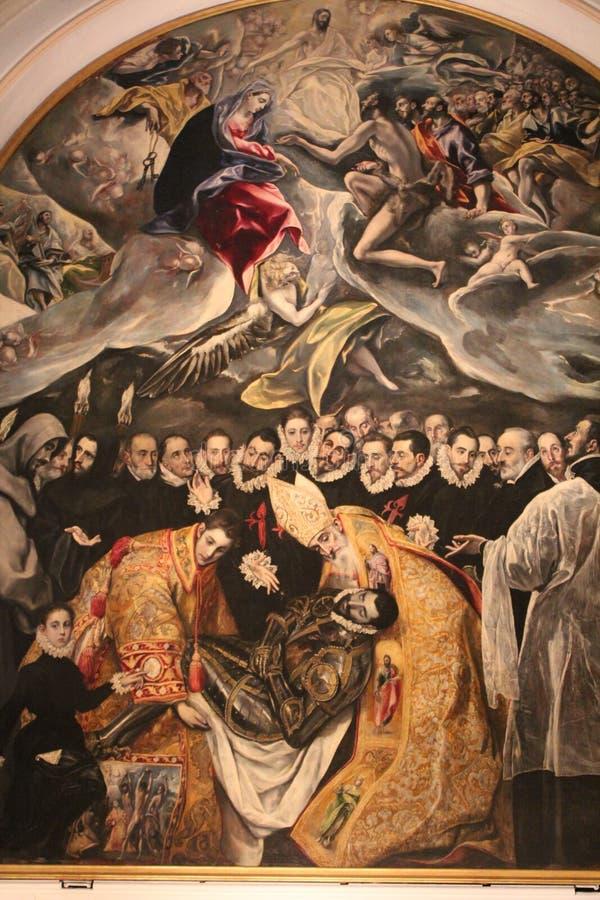 Λεπτομέρεια του χαρακτηριστικού μεταλλικού πιάτου με τη μίμηση του χρώματος EL Greco - ο ενταφιασμός της αρίθμησης Orgas Ισπανία  στοκ εικόνες