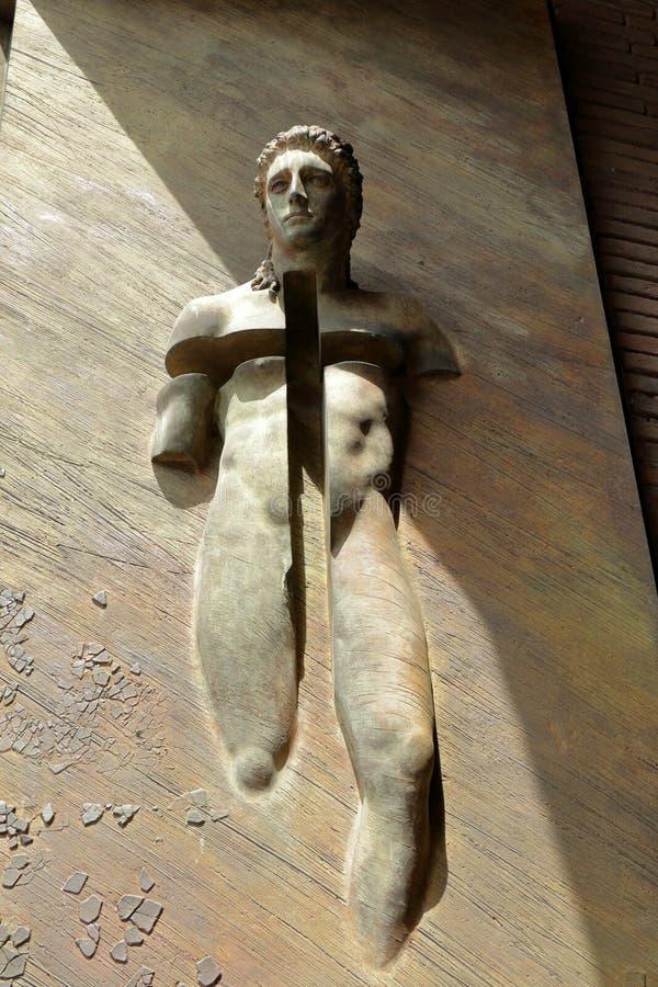 Λεπτομέρεια του dei Martiri Angeli ε degli της Σάντα Μαρία βασιλικών πυλών στοκ εικόνες με δικαίωμα ελεύθερης χρήσης