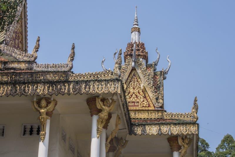 Λεπτομέρεια των καταλήξεων ναών του wat kraom sihanoukville Καμπότζη στοκ εικόνα με δικαίωμα ελεύθερης χρήσης