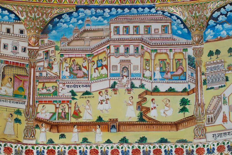 Λεπτομέρεια των mural έργων ζωγραφικής στον ινδό ναό Laxmi Nath σε Bikaner, Ινδία στοκ εικόνες